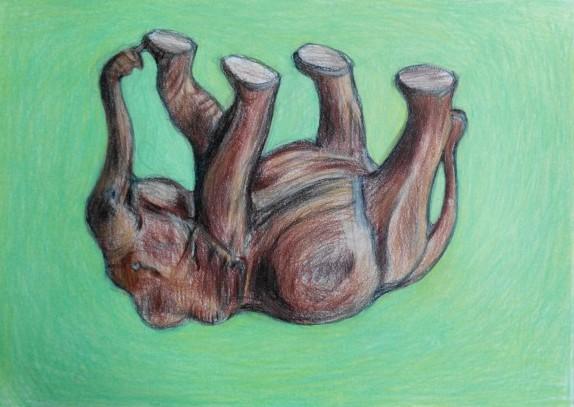 olifant tekening, Elephant upside down