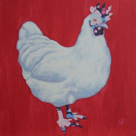 red chicken, kippen schilderij