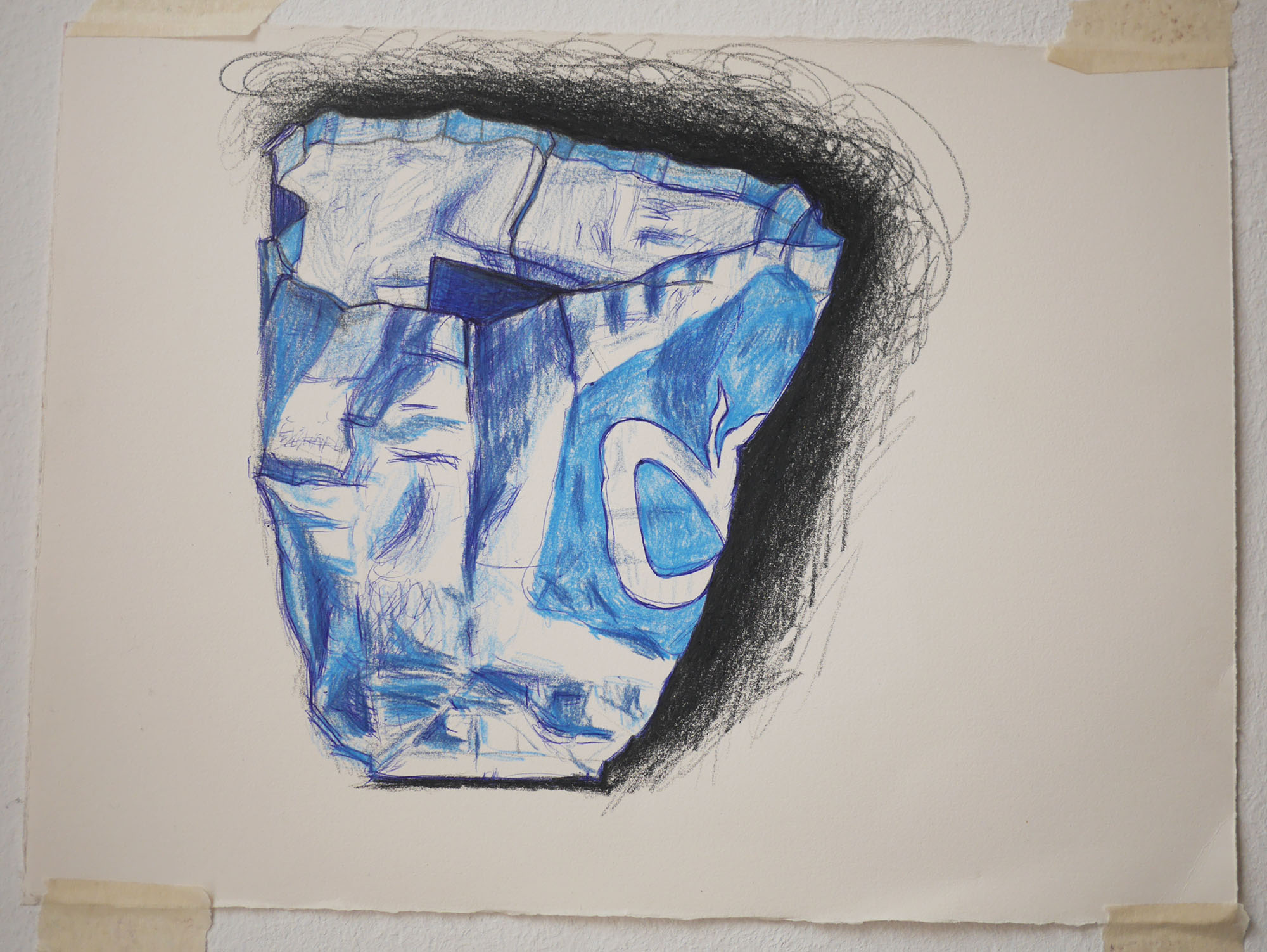 tekening met kleurpotlood ah shopper shopping bag drawing
