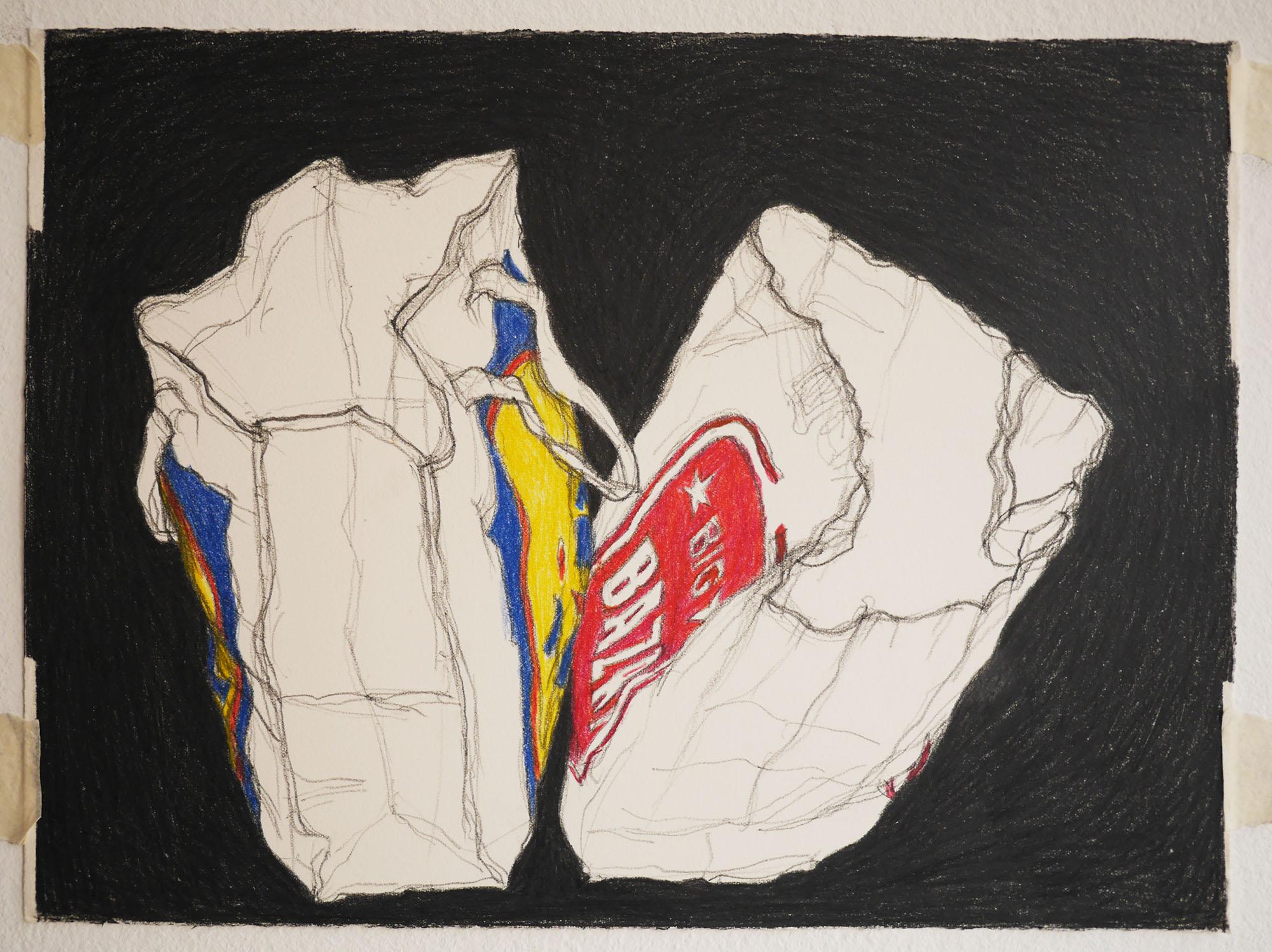 kleur tekening shopping bags  pencilcolour drawing