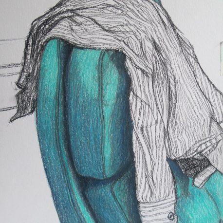 stoel tekening kleurpotlood van stoel en blouse