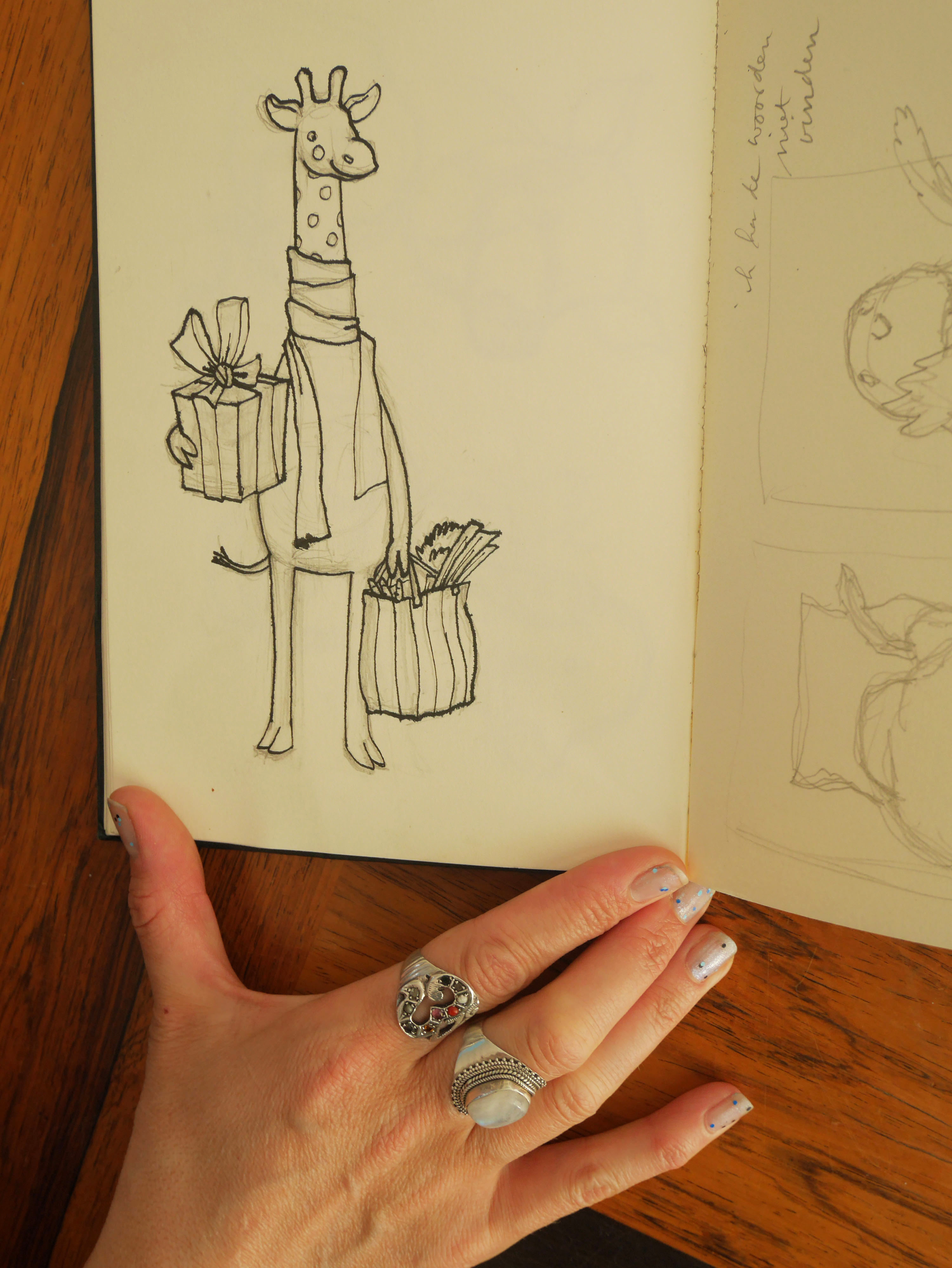 de eerste schets van giraf