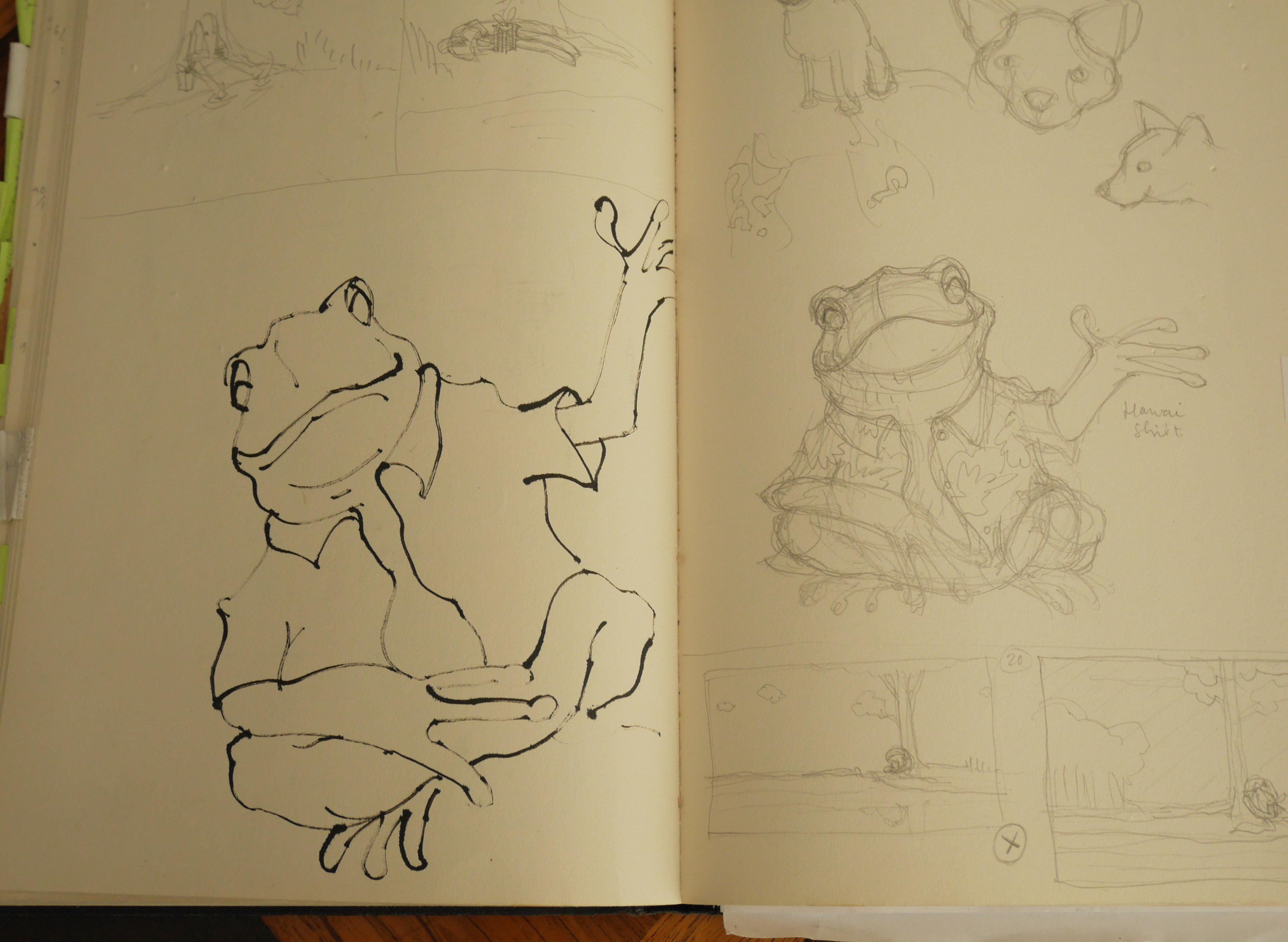 eerste schets van pad uit het boek van Ode