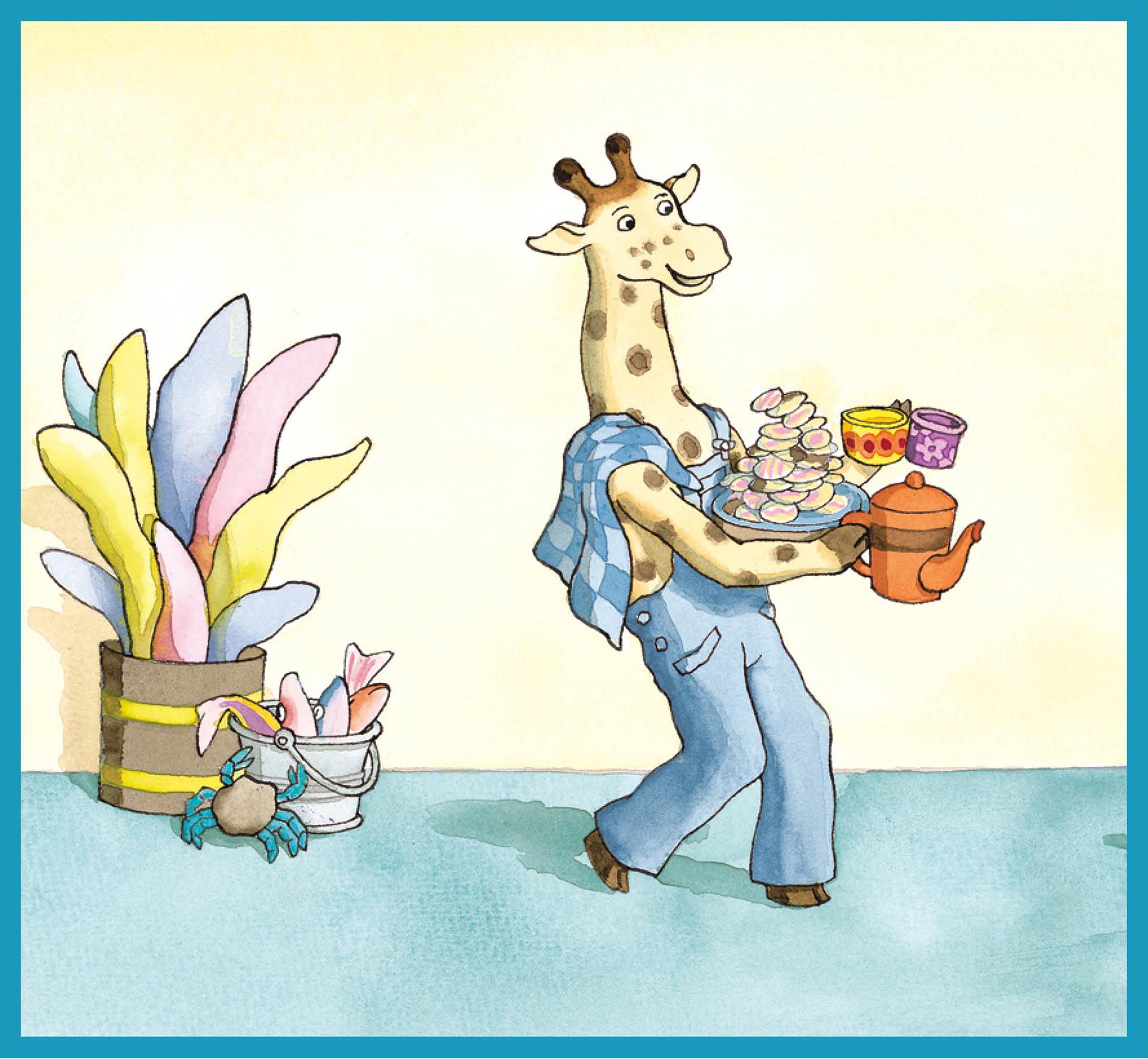 giraf brengt smikkelkoekjes