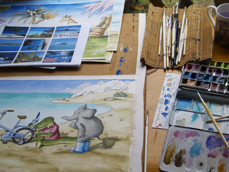 het uitwerken van de illustraties in aquarel