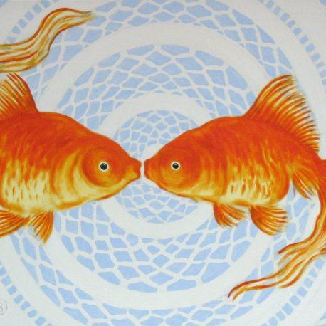 schilderij goudvis schilderij vis kisses for me