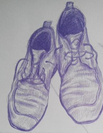 tekening schoen, purple shoes,