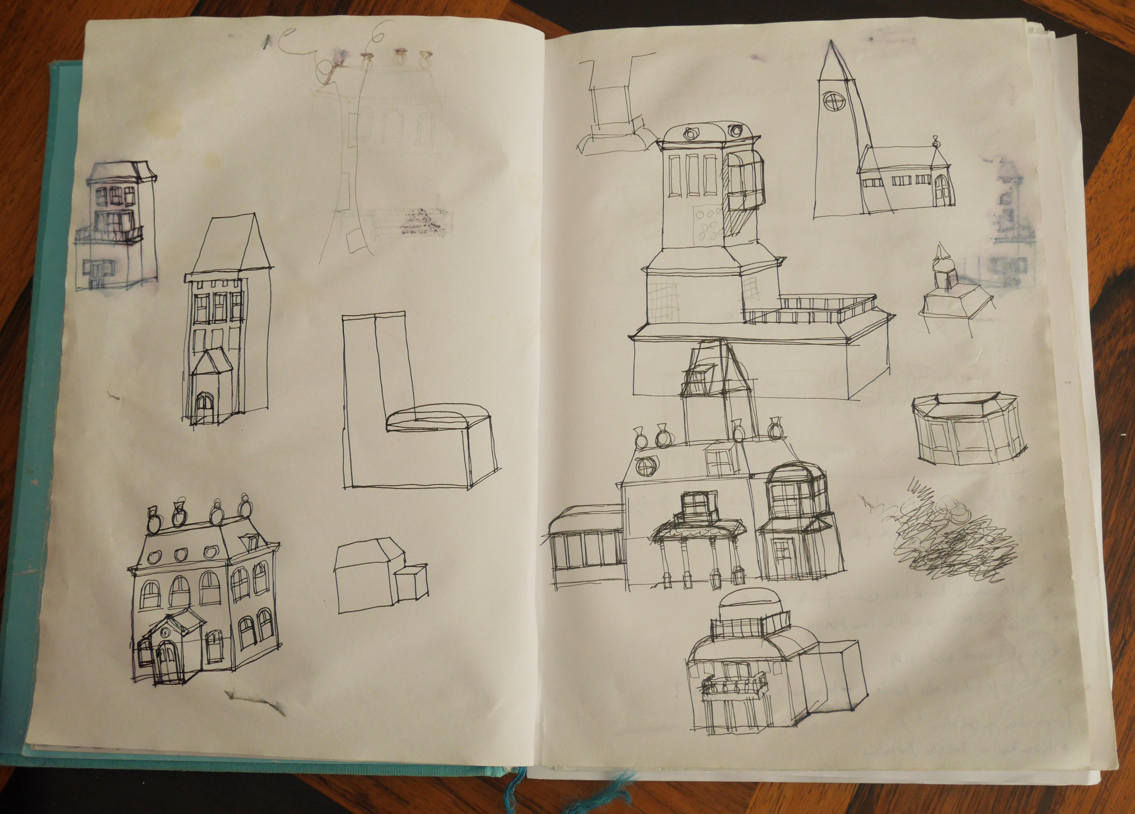 schets van het huis van Dikkebillenmonster