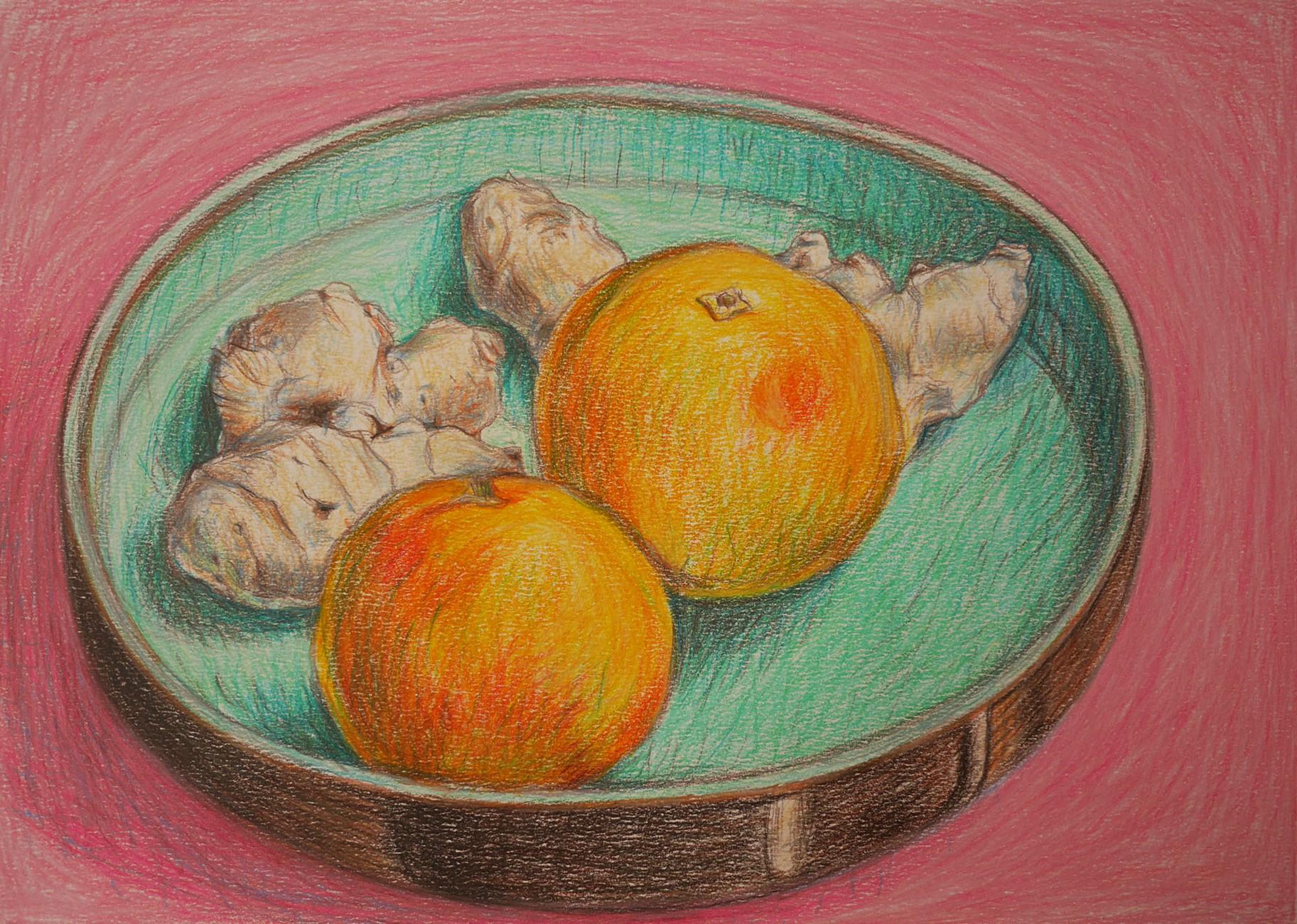 tekeningen in kleur sinasappel met gember