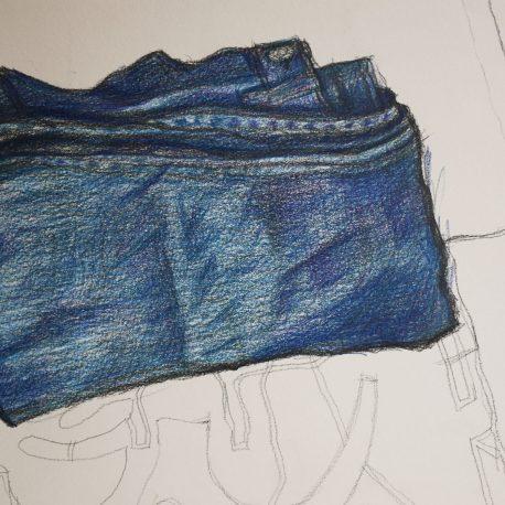 jeans, broek tekenen,kleurpotlood tekening spijkerbroek pencilcolour drawing jeans