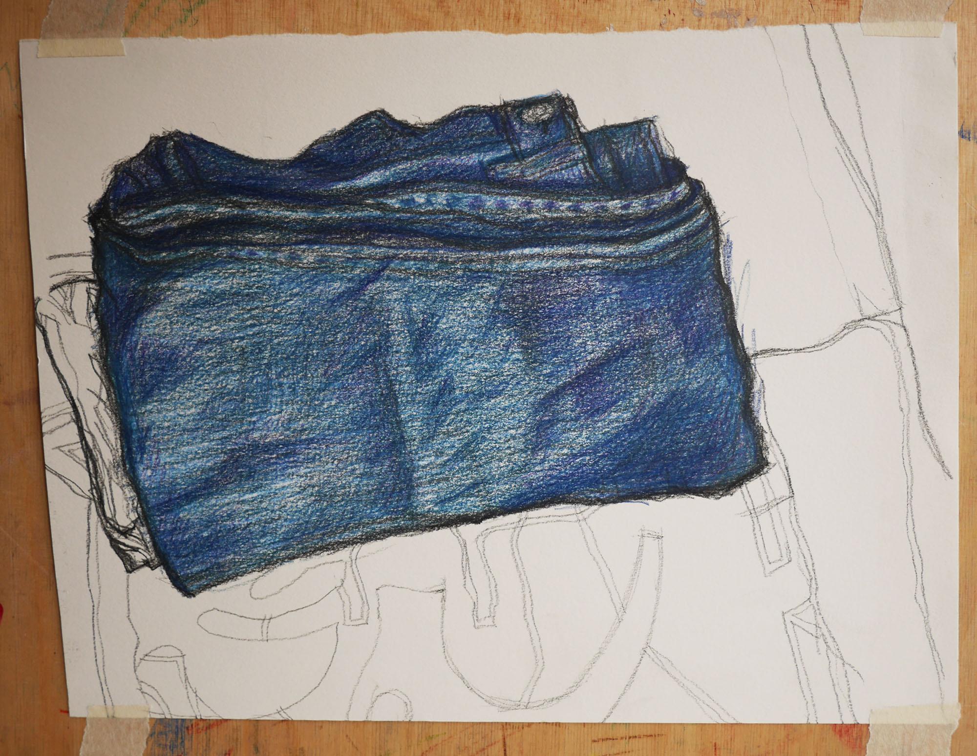 kleurpotlood tekening spijkerbroek pencilcolour drawing jeans