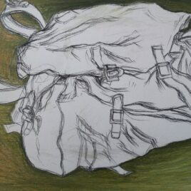 tas tekenen pencilcolour drawing green bag kleurpotlood tekening tas