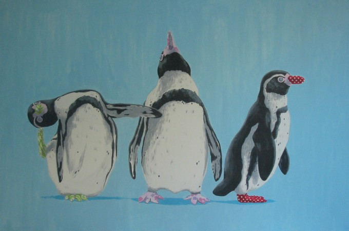 three is a crowd, pinguin schilderij
