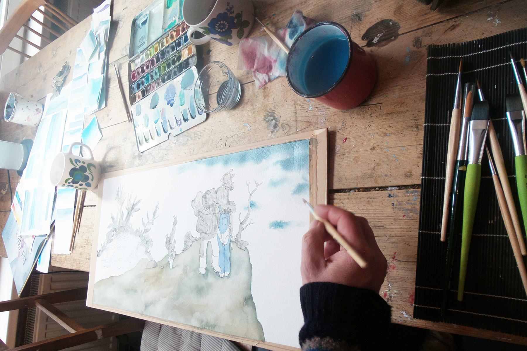 aquarel en inkt illustratie uit Giraf schrijft