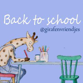 back to school aktie met giraf en vriendjes