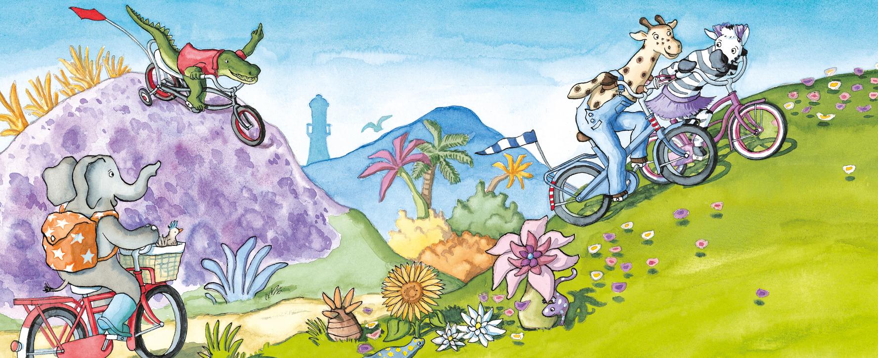 De vier vrienden fietsen over het eiland