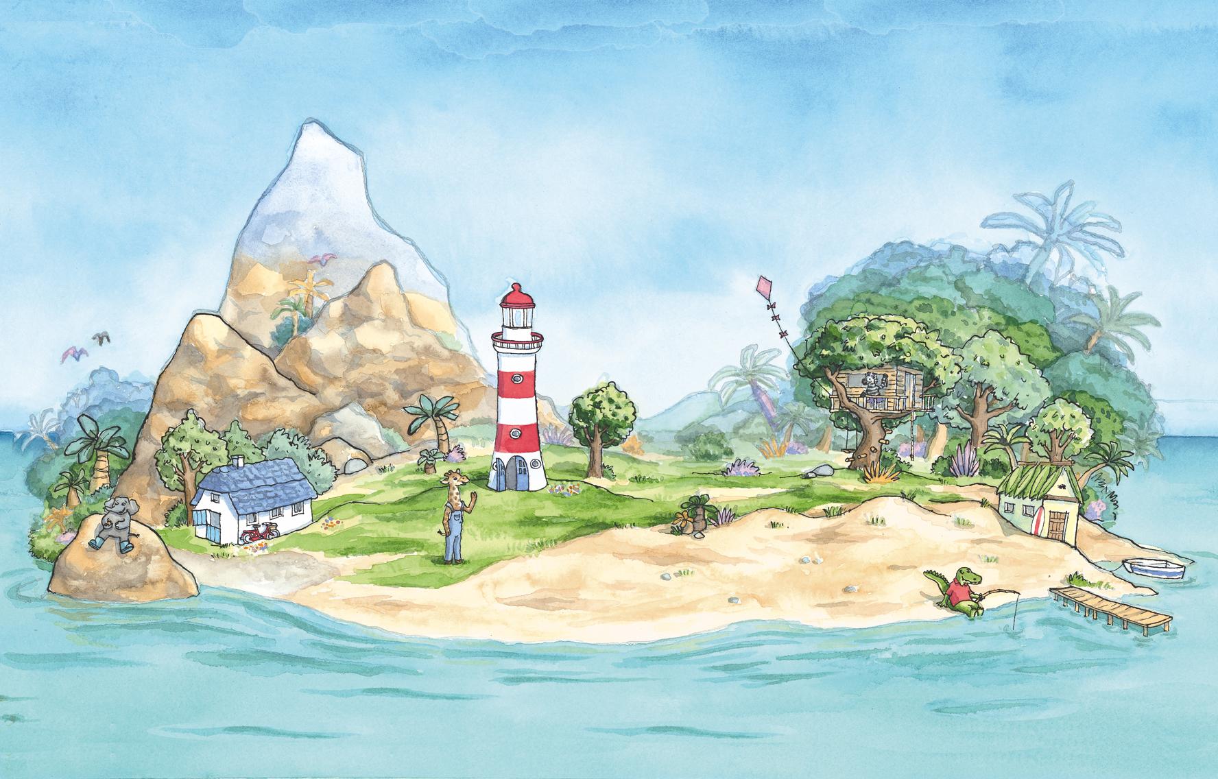 Het tropisch eiland van Giraf
