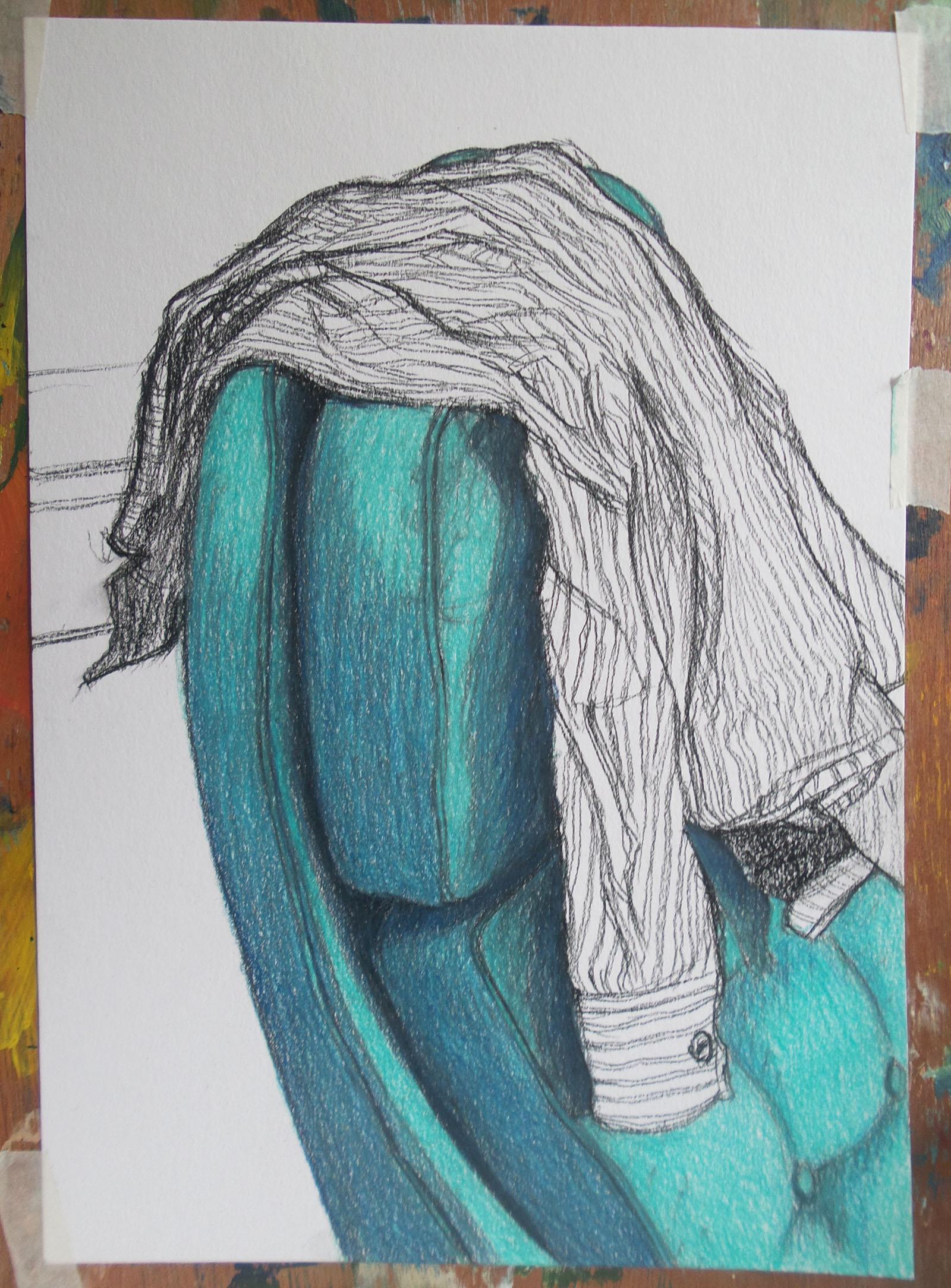 tekening kleurpotlood van stoel en blouse