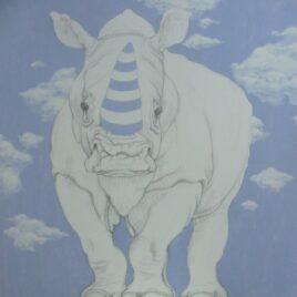 neushoorn schilderij, clouds