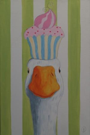 cupcake goose een grappig schilderij