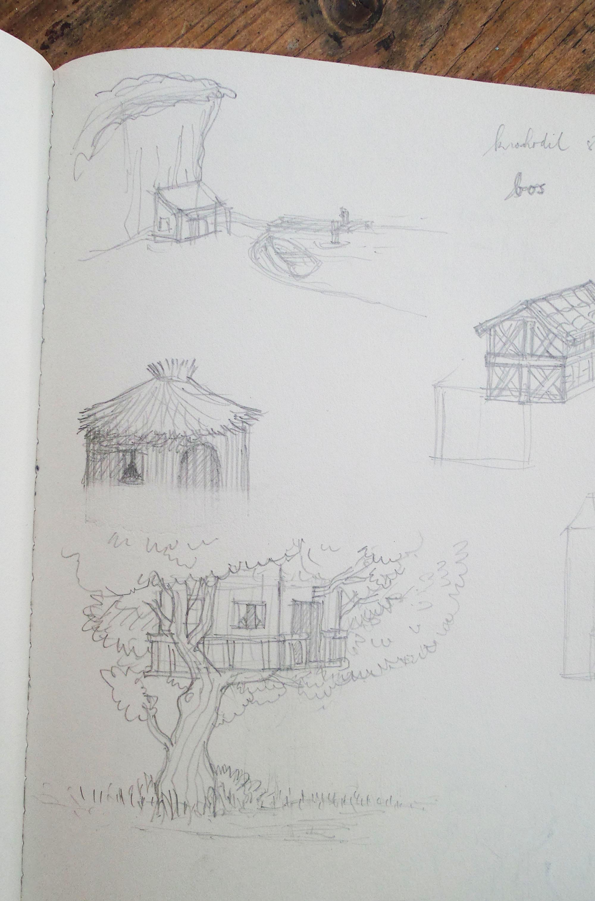 schets van de boomhut van Zebra