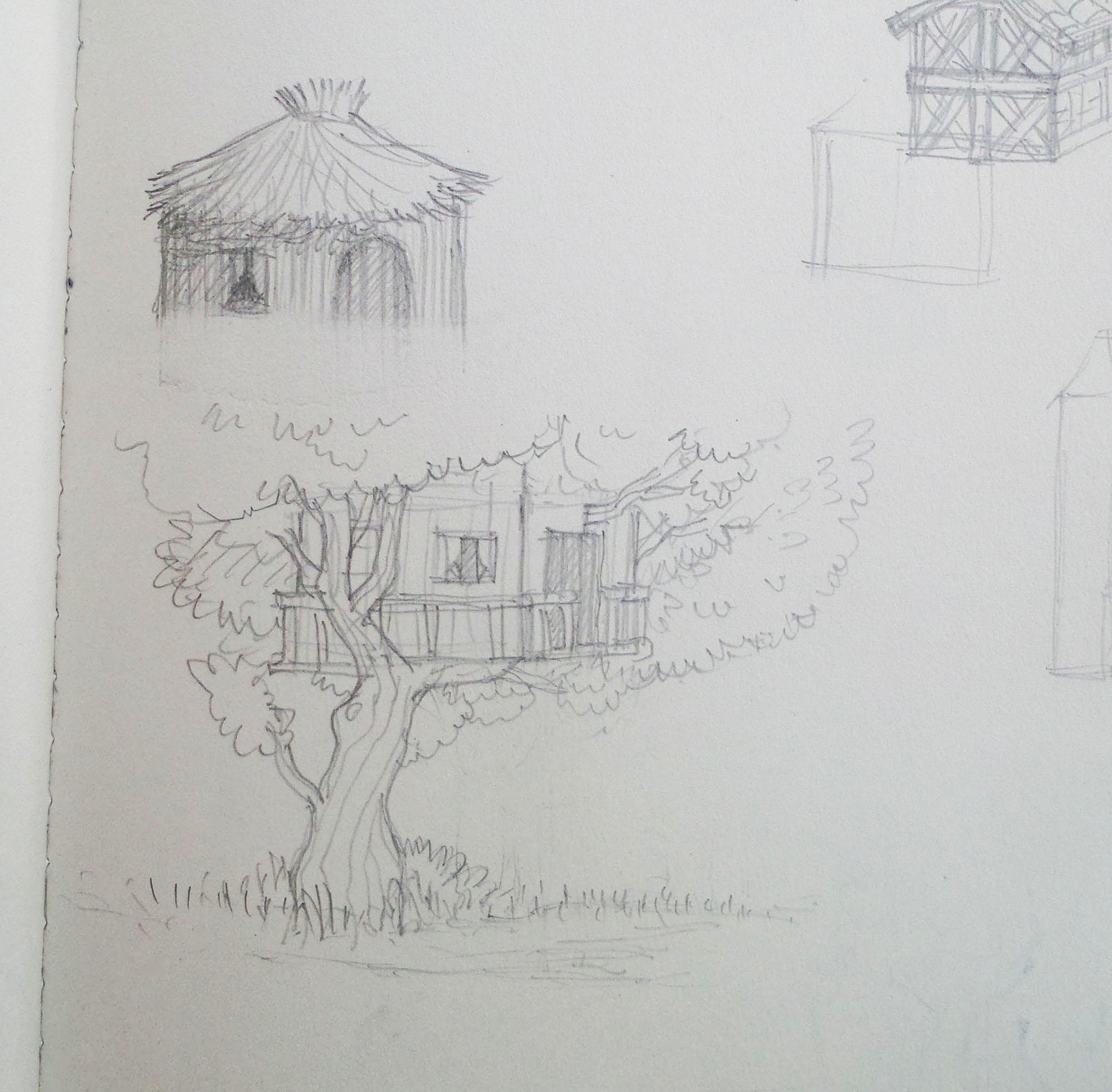 schets van de de boomhut