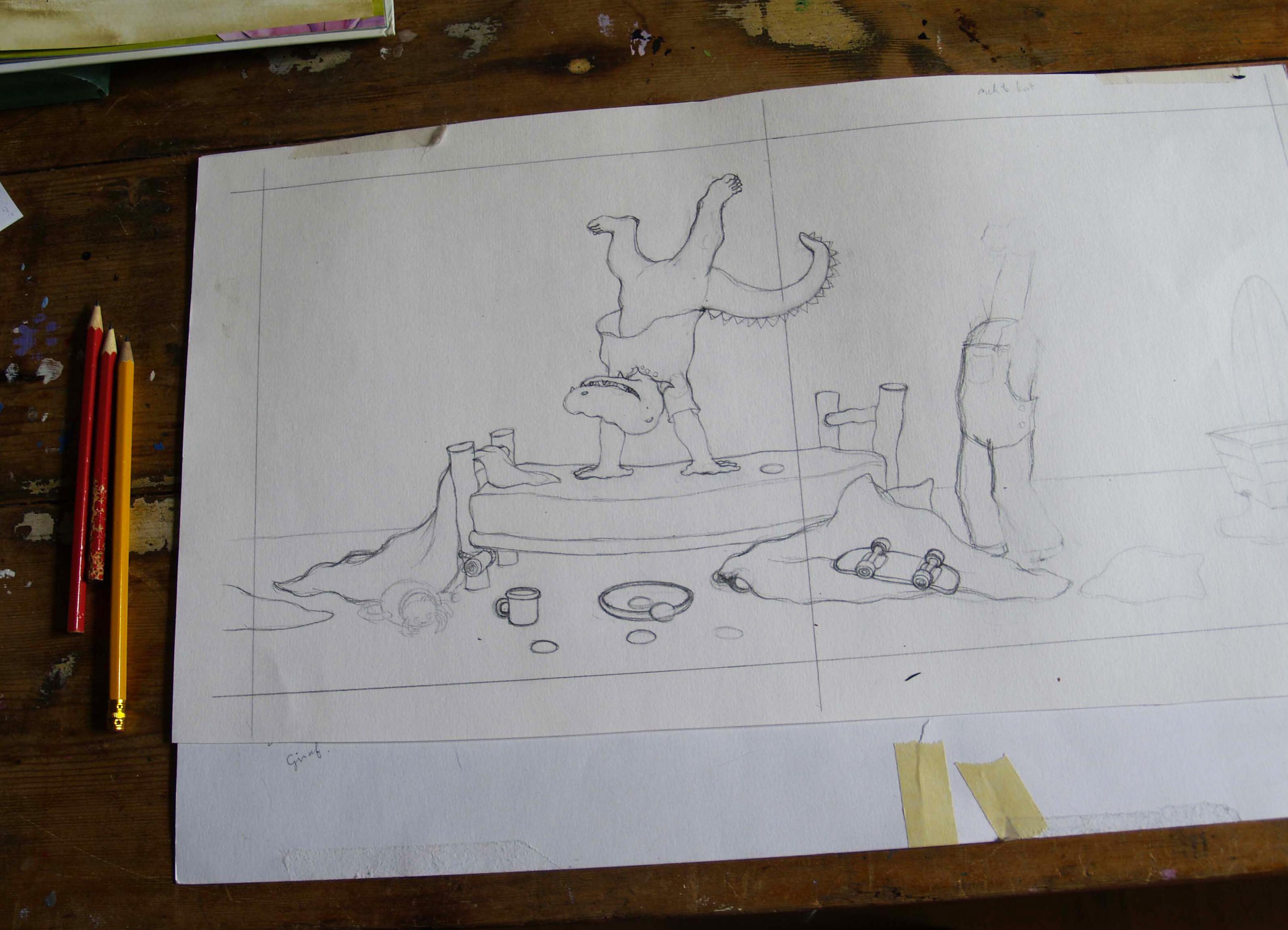 de eerste tekeningen voor giraf en de krookeritis