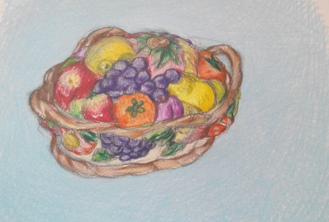 pottery drawing fruitbasket pottery