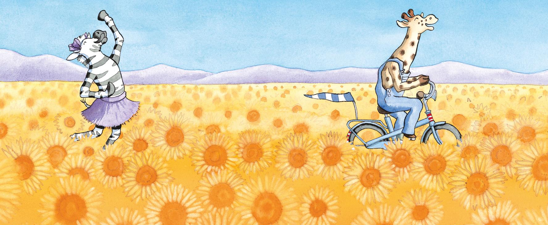 giraf fietst door het zonnebloemveld