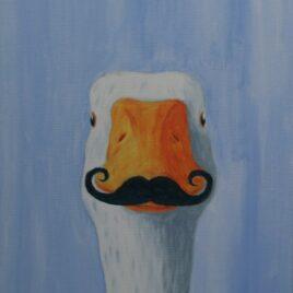 goose moustache een grappig schilderij van een gans met een echte snor