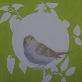 vogel schilderij, green sparrow,