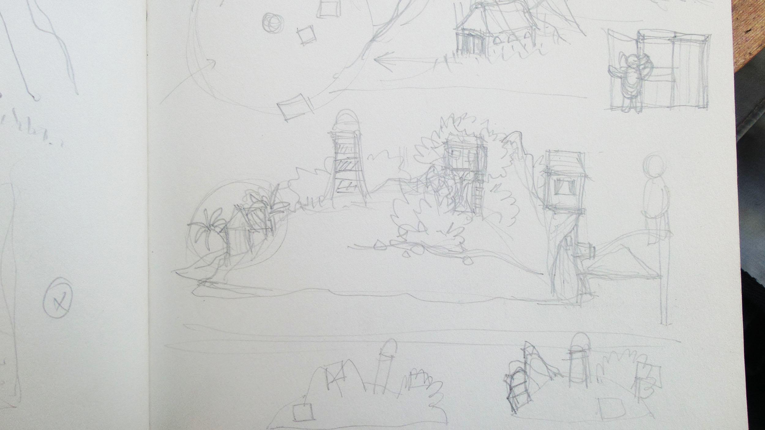 het eiland met het hutje, de vuurtoren en de boomhut