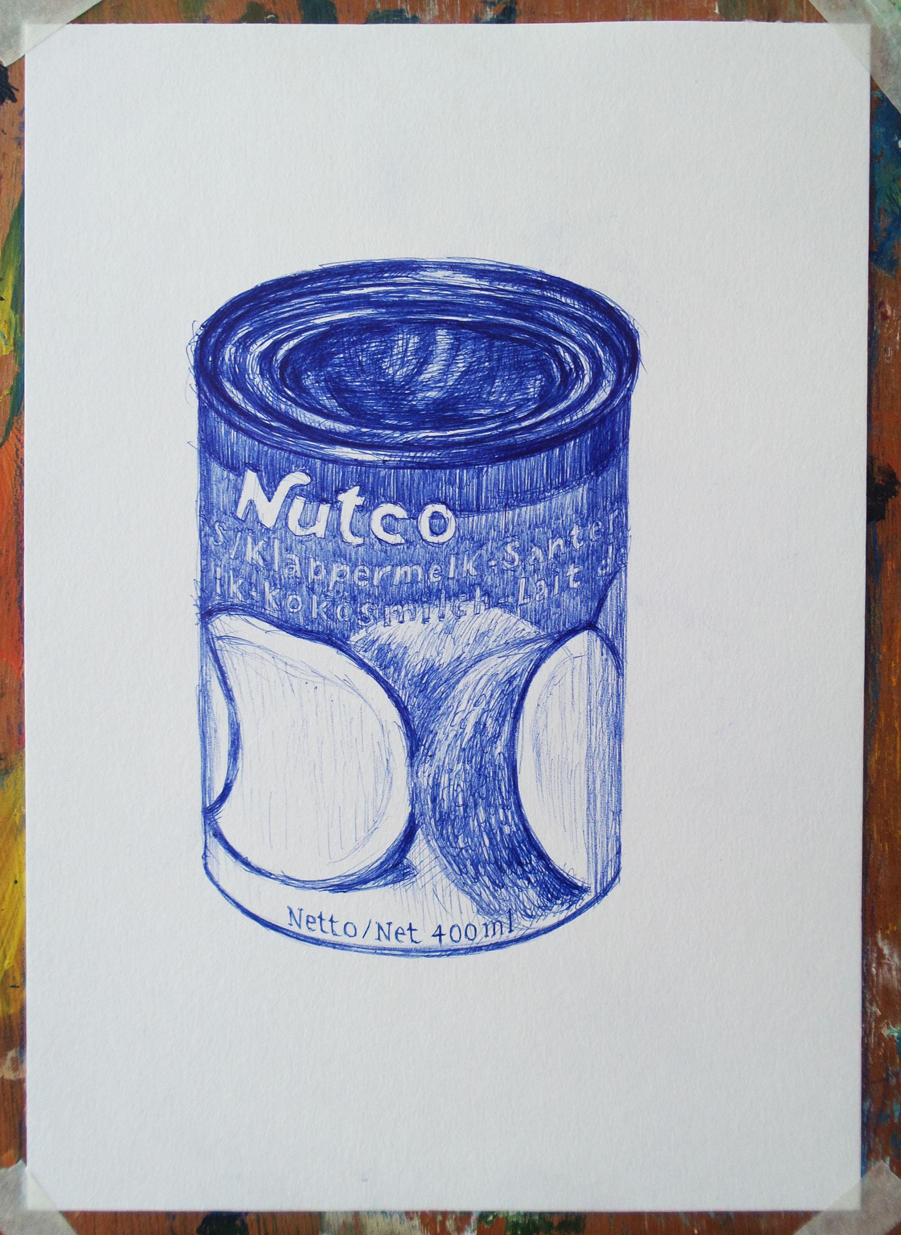 tekening met balpen van blik cocosnootmelk drawing with ballpoint of a can of coconutmilk