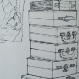tekening koffer, tekening koffers