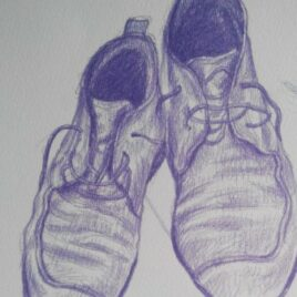 tekening schoen, purple shoes,