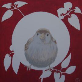 mus schilderij red sparrow