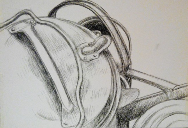 stilleven tekening stillife in charcoal