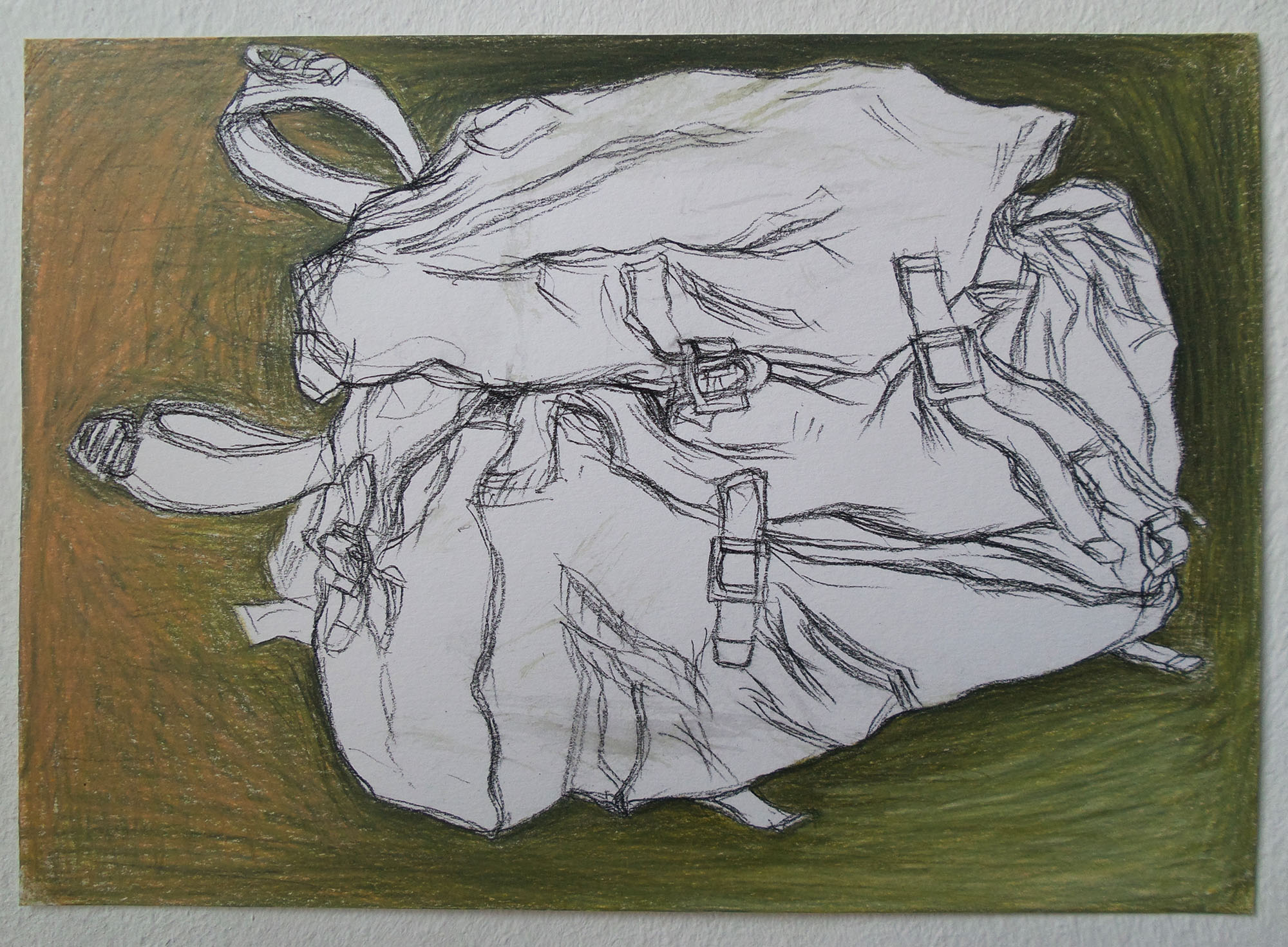 pencilcolour drawing green bag kleurpotlood tekening tas