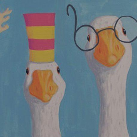 four geese een grappig schilderij van vier gekke ganzen