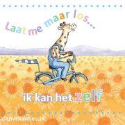 mooie magneet voor de ijskast van Giraf, die fietst door een veld van zonnebloemen