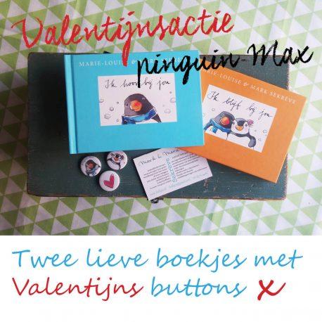 speciaal voor valentijnsdag actie met Pinguin max ik hoor bij jou en Ik blijf bij jou samen met 3 valentijns buttons