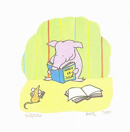 varkentje leest een boek en muis leest ook een boek, zeefdruk voor in de babykamer
