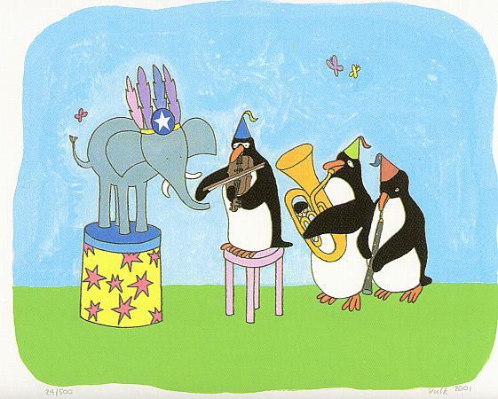 Het feest van olifant, pinguins spelen op muziekinstumenten, een viool, klarinet en tuba, kindertekening voor in de kinderkamer