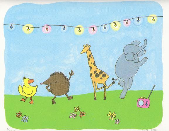 Egel, Eend, olifant en Giraf dansen onder gekleurde lichtjes en transistor radiotje, kunst voor kinderen