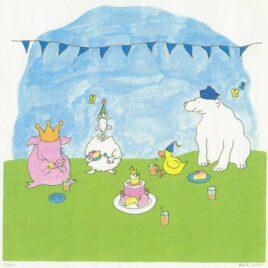 Eend is jarig, haar vrienden, schaap, ijsbeer en eend eten taart en drinken limonade, kunst voor baby's