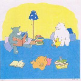 grijze neushoorn leest boeken voor aab beer, ijsbeer eend en muis, kinderboekenillustratie, zeefdruk
