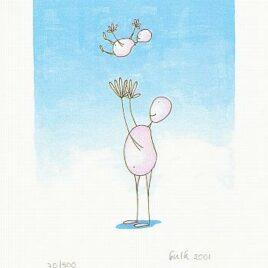 illustratie pappa gooit zijn kind in de lucht en vangt hem op, zeefdruk, kraamcadeau