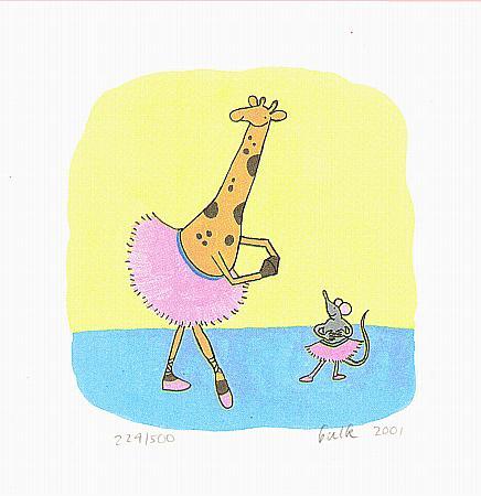 kinder illustratie, giraf met een tuttu en muis met een tuttu, balletles met giraf en muis, zeefdruk