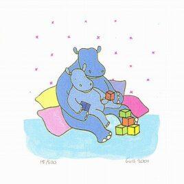 pappa nijlpaard met baby nijlpaardje op schoot spelen met blokken, zeefdruk, kinderkamerkunst, kunst voor in de kinderkamer