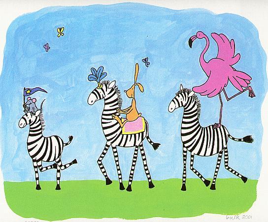 schilderijtje van een optocht van zebra's met een konijn en een flamingo, kuns zeefdruk voor in de kinderkamer